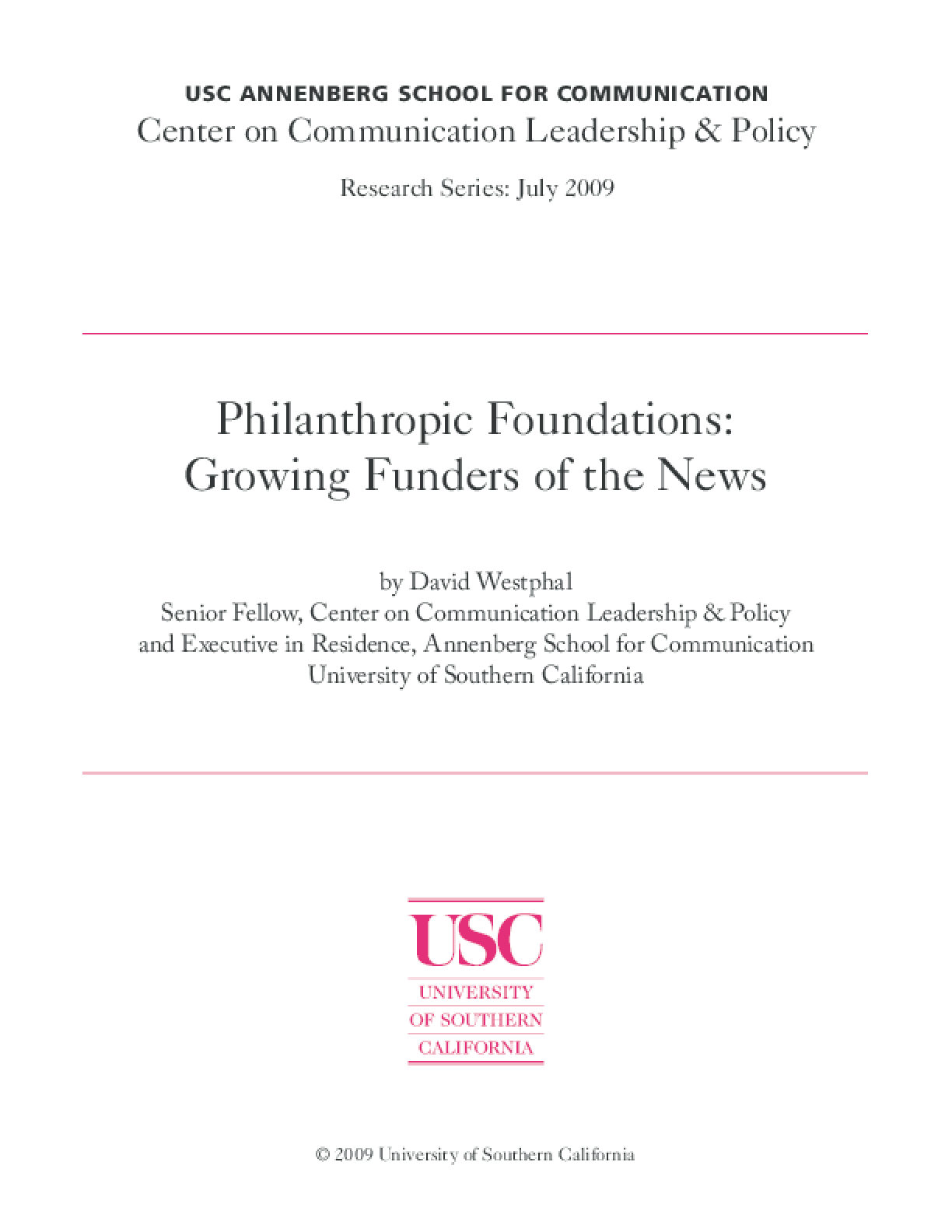Philanthropic Foundations: Growing Funders of the News