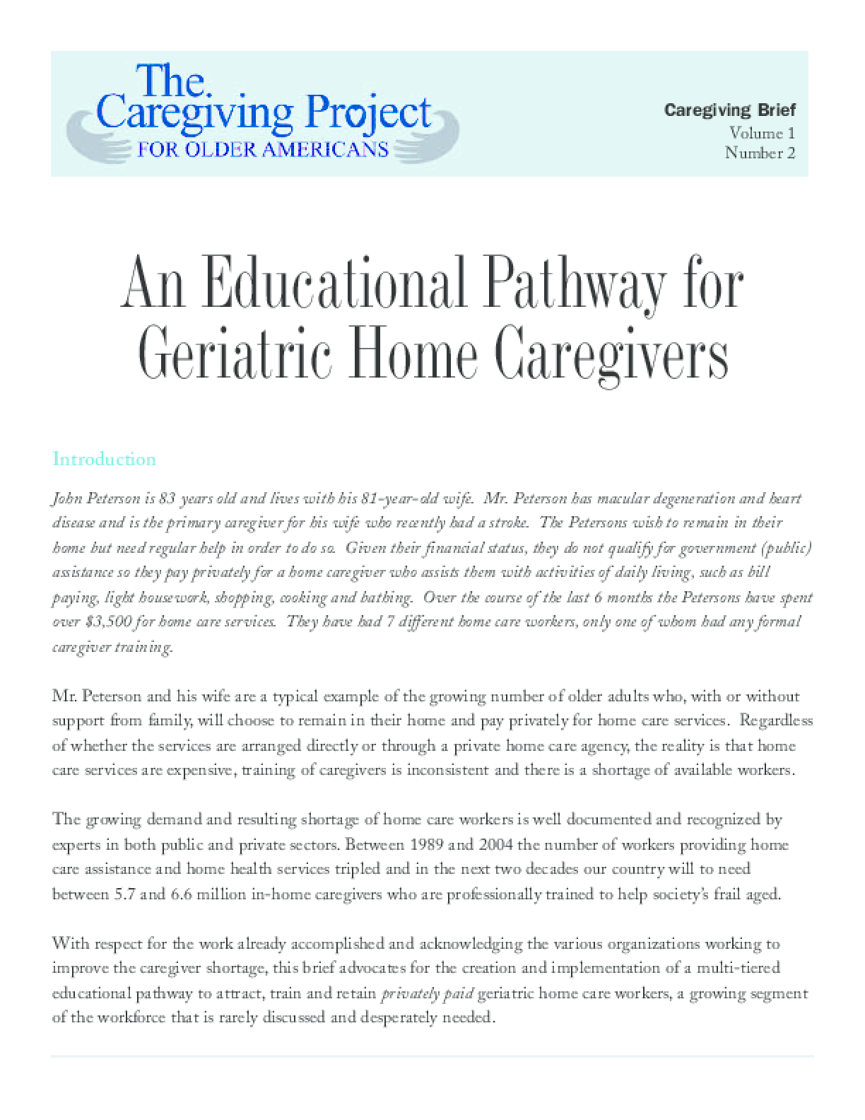 An Educational Pathway for Geriatric Home Caregivers
