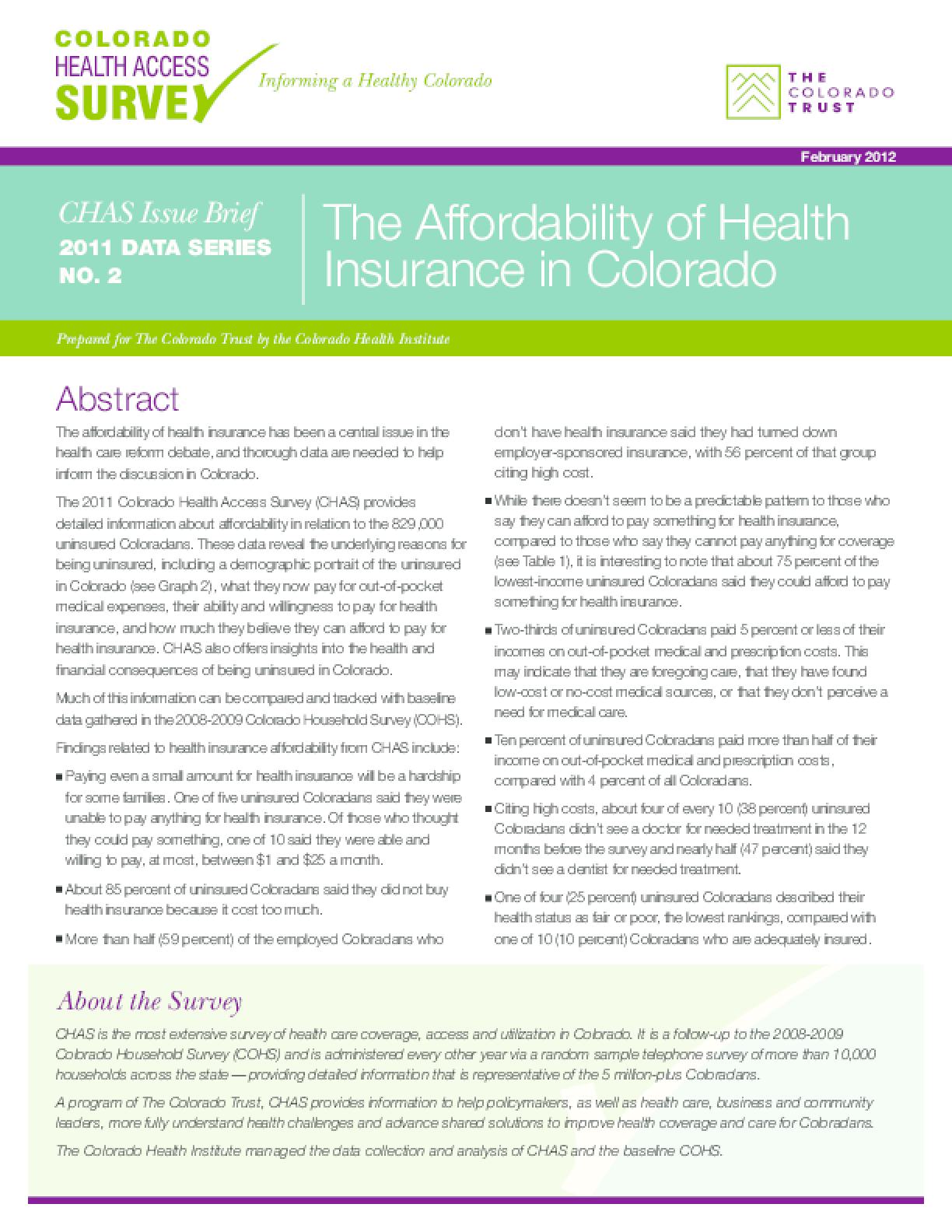 The Affordability of Health Insurance in Colorado