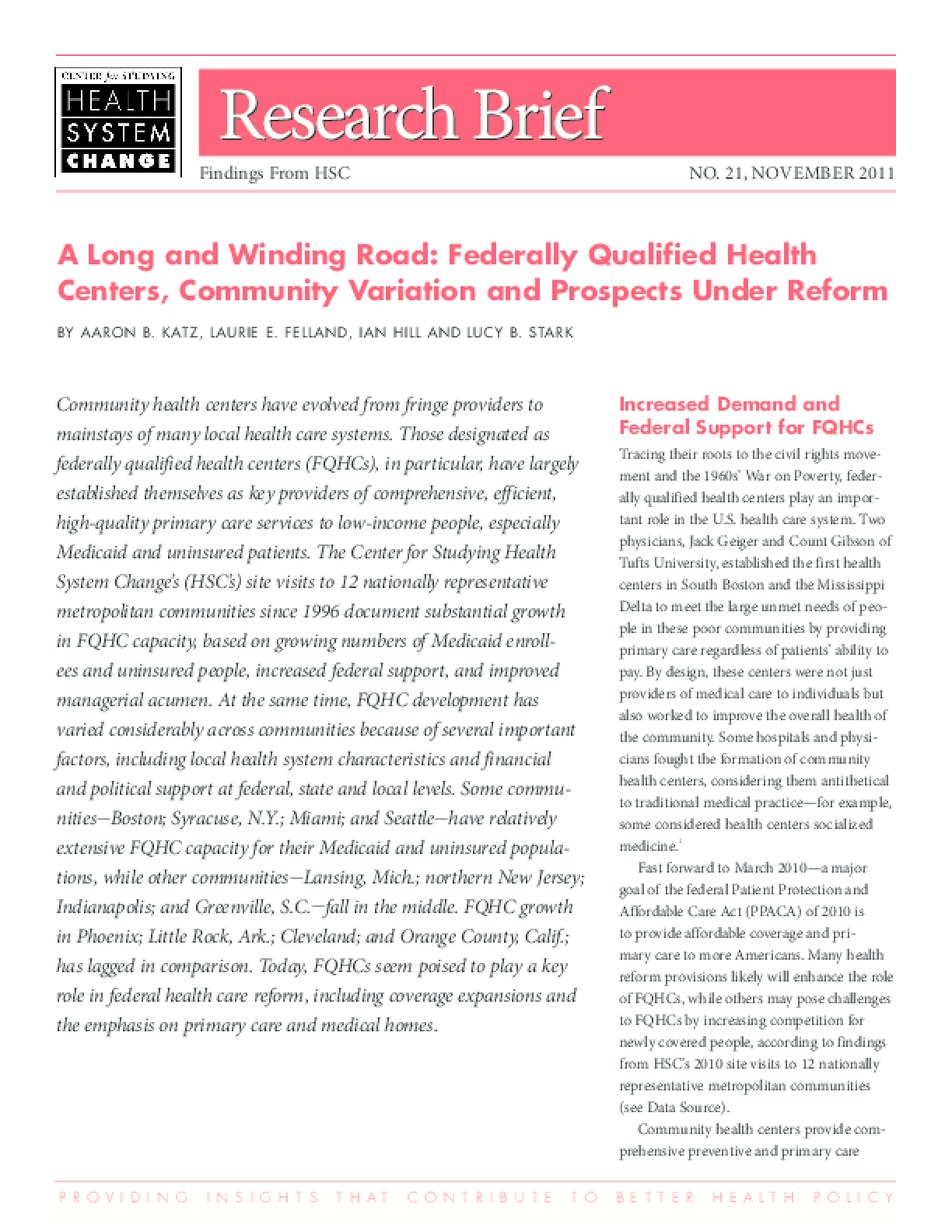 A Long and Winding Road: Federally Qualified Health Centers, Community Variation and Prospects Under Reform