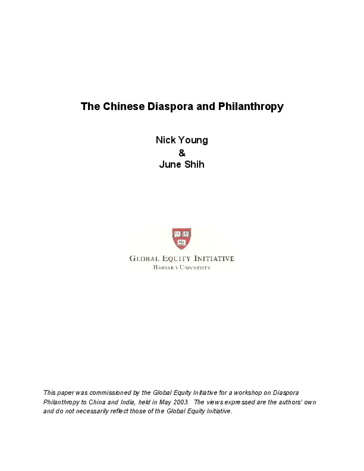 The Chinese Diaspora and Philanthropy