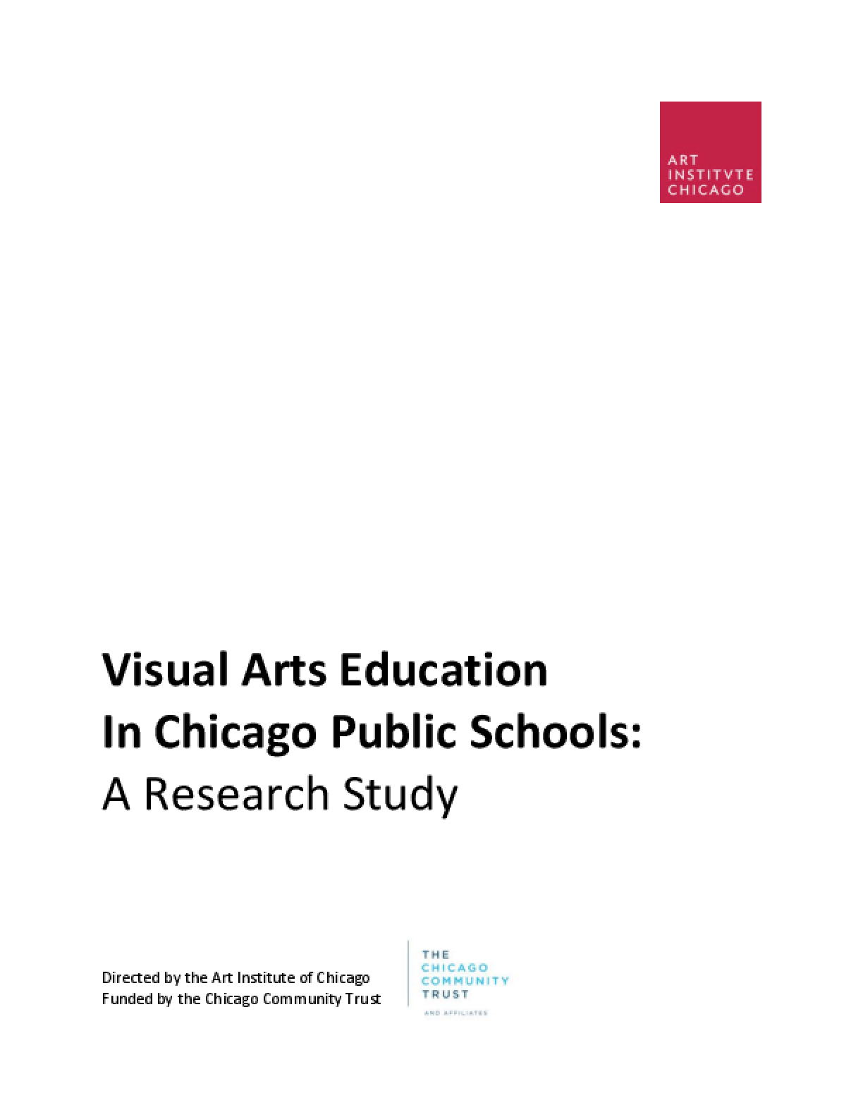 Visual Arts Education in Chicago Public Schools: A Research Study