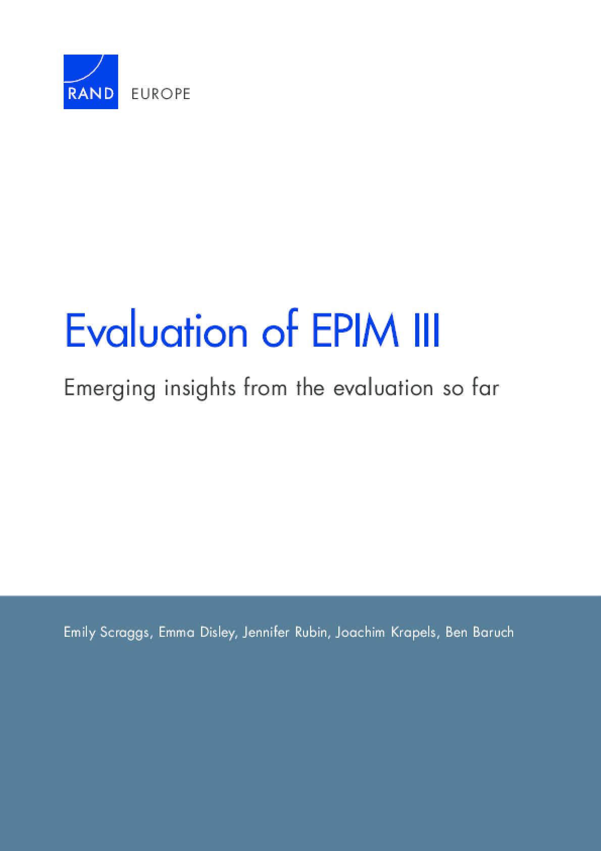 Evaluation of EPIM III: Emerging Insights From the Evaluation So Far