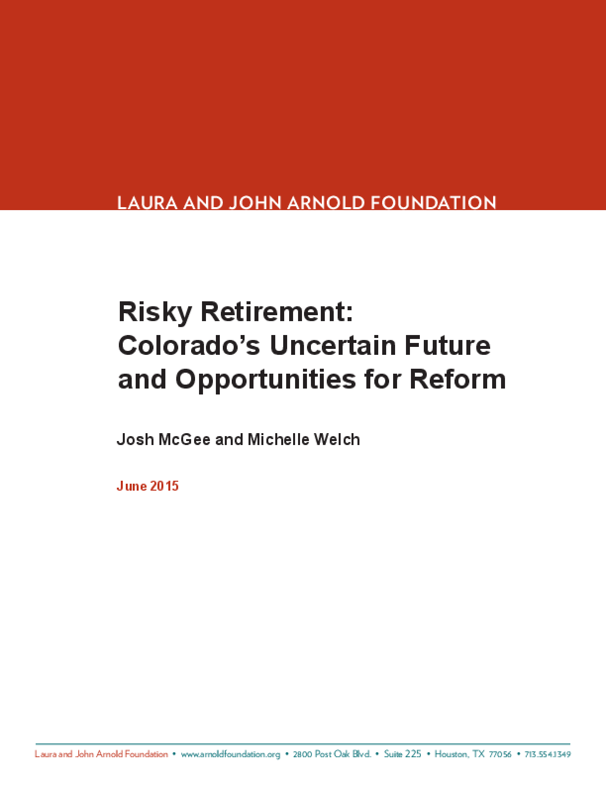 Risky Retirement: Colorado's Uncertain Future and Opportunities for Reform