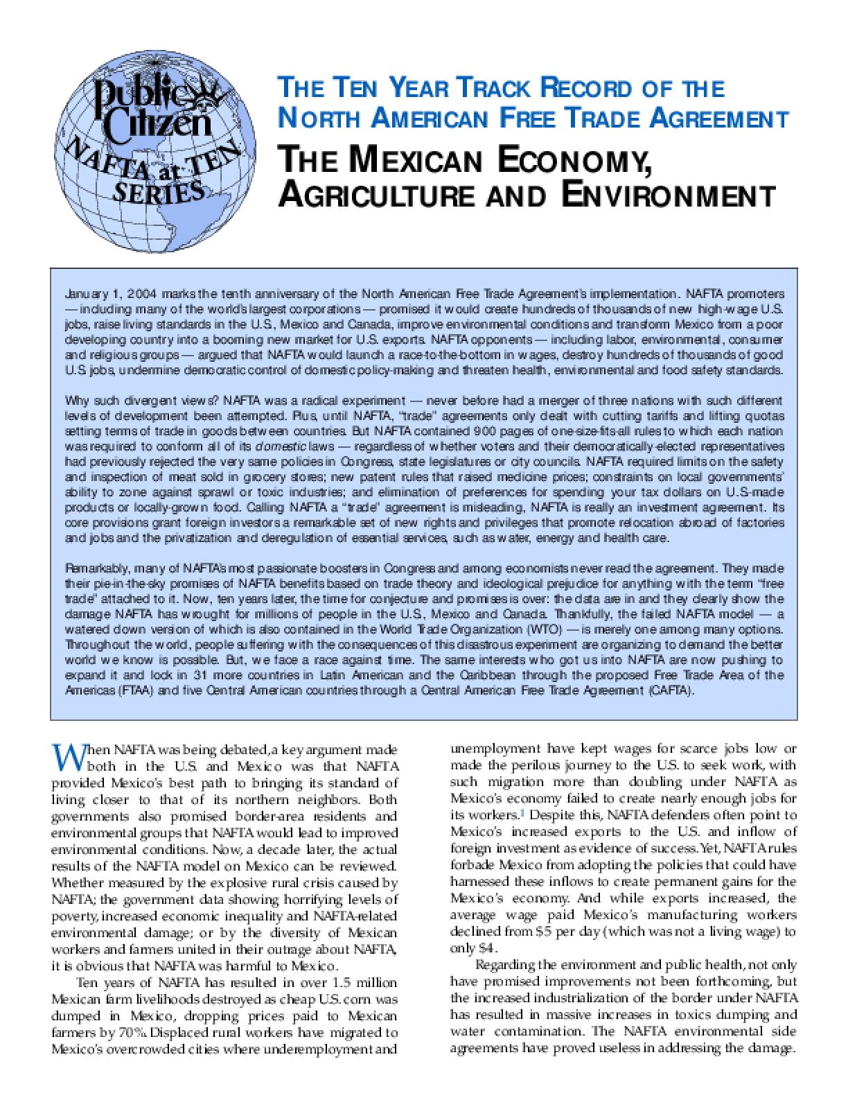 The Ten Year Track Record of the North American Free Trade Agreement: The Mexican Economy, Agriculture and Environment