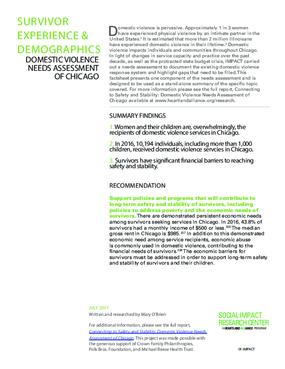 Factsheet: Survivor Experience and Demographics (DV Landscape Report)