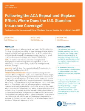 Following the ACA Repeal-and-Replace Effort, Where Does the U.S. Stand on Insurance Coverage? Findings from the Commonwealth Fund Affordable Care Act Tracking Survey, March–June 2017