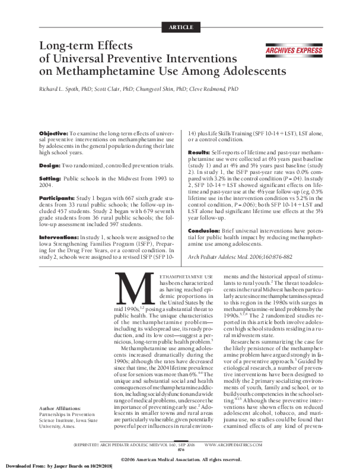 Long-term Effects of Universal Preventative Interventions on Methamphetamine Use among Adolescents