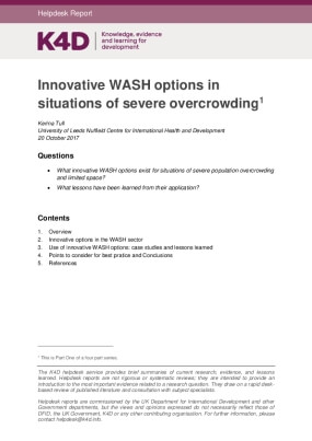 Innovative WASH Options in Situations of Severe Overcrowding