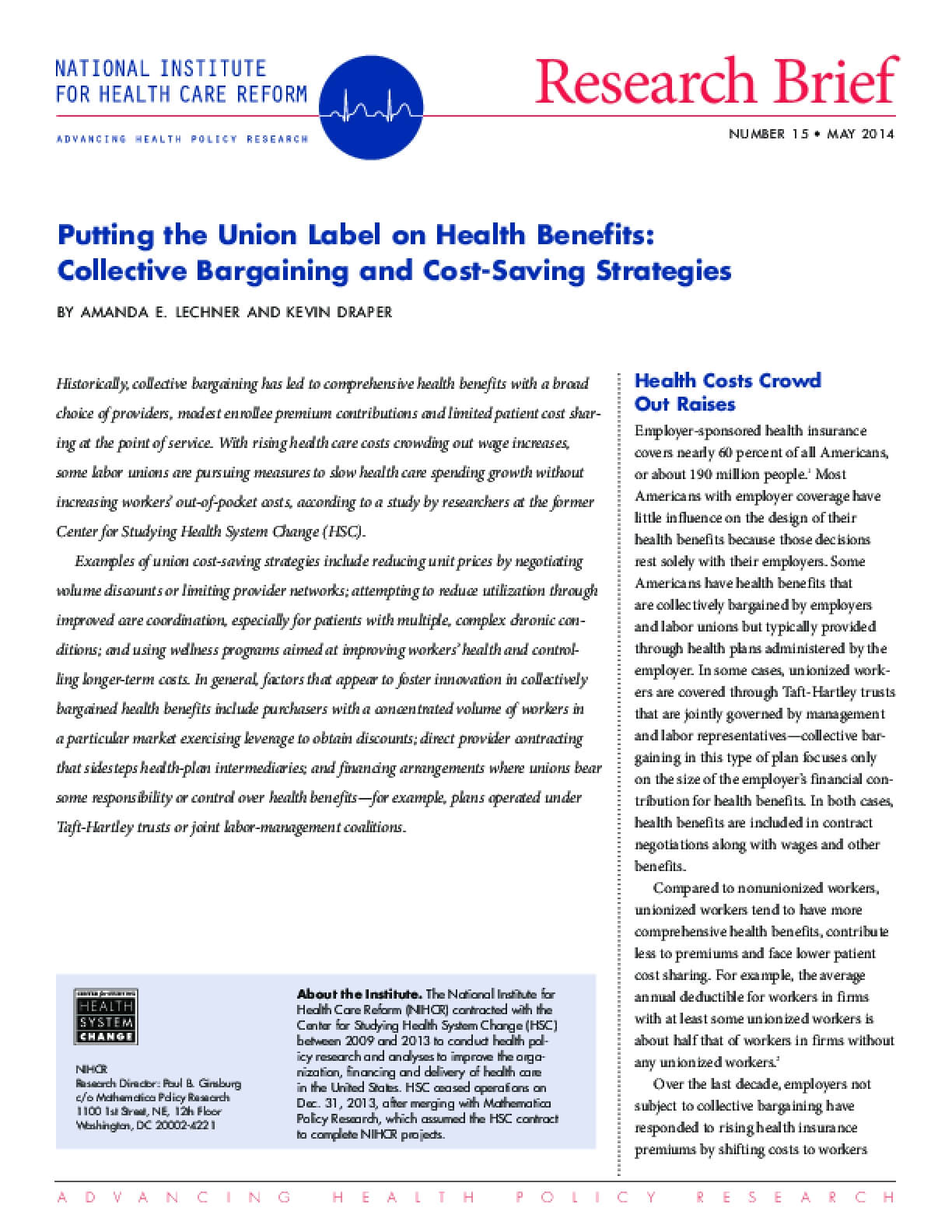 Putting the Union Label on Health Benefits: Collective Bargaining and Cost-Saving Strategies