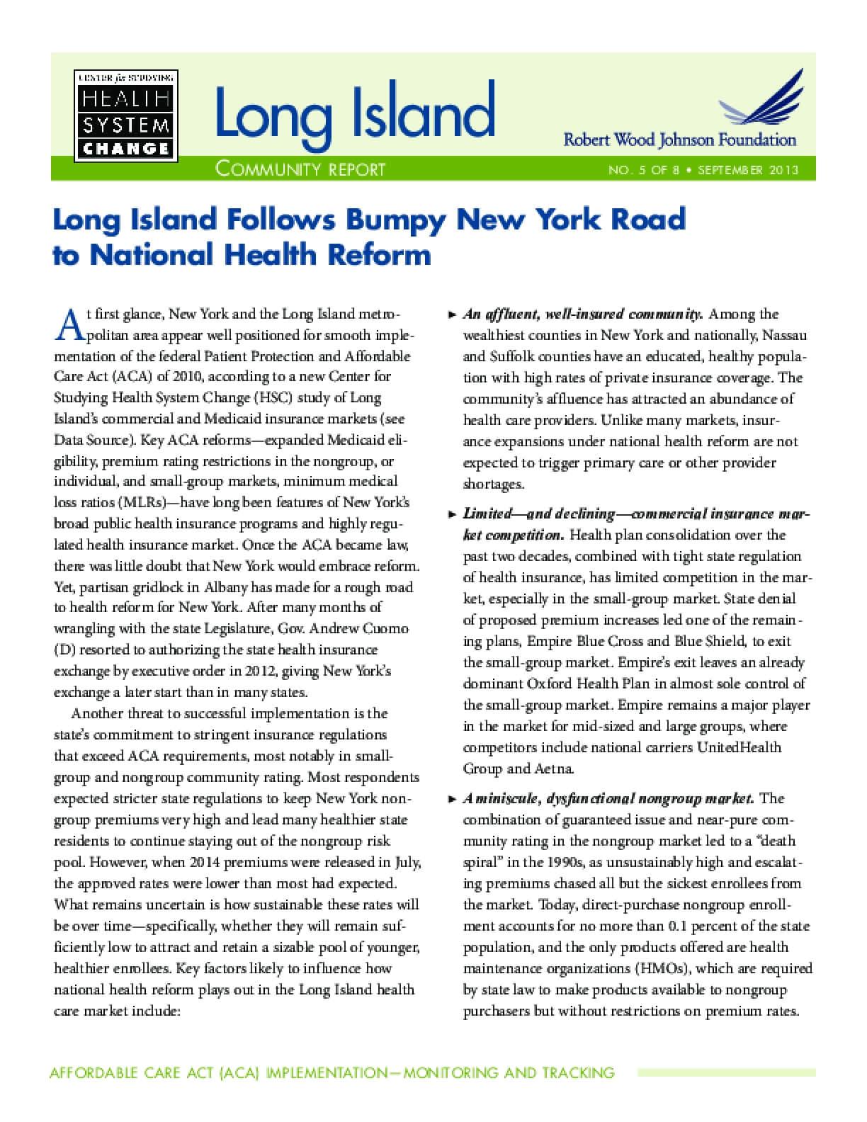 Long Island Follows Bumpy New York Road to National Health Reform