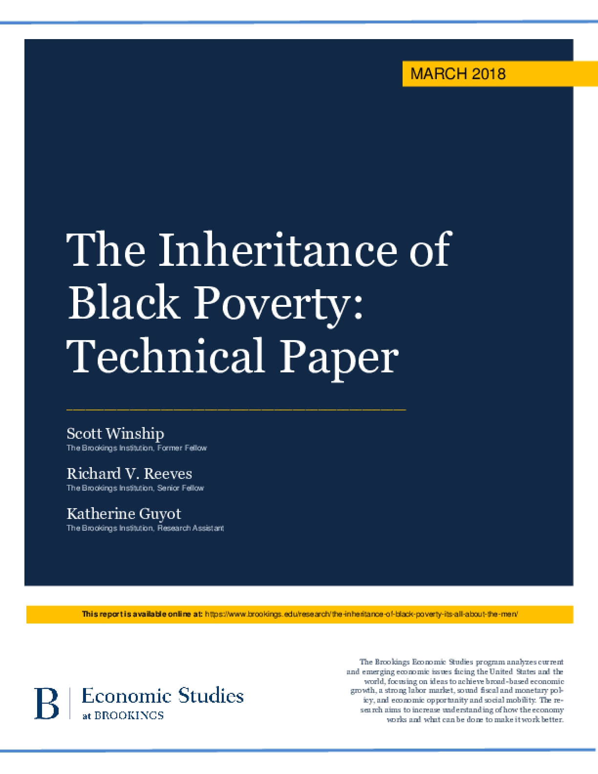 The Inheritance of Black Poverty: Technical Paper