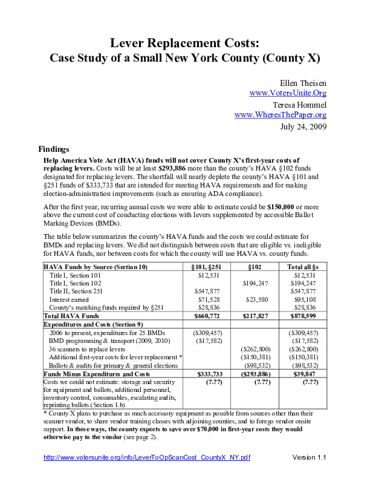 Lever Replacement Costs: Case Study of a Small New York County