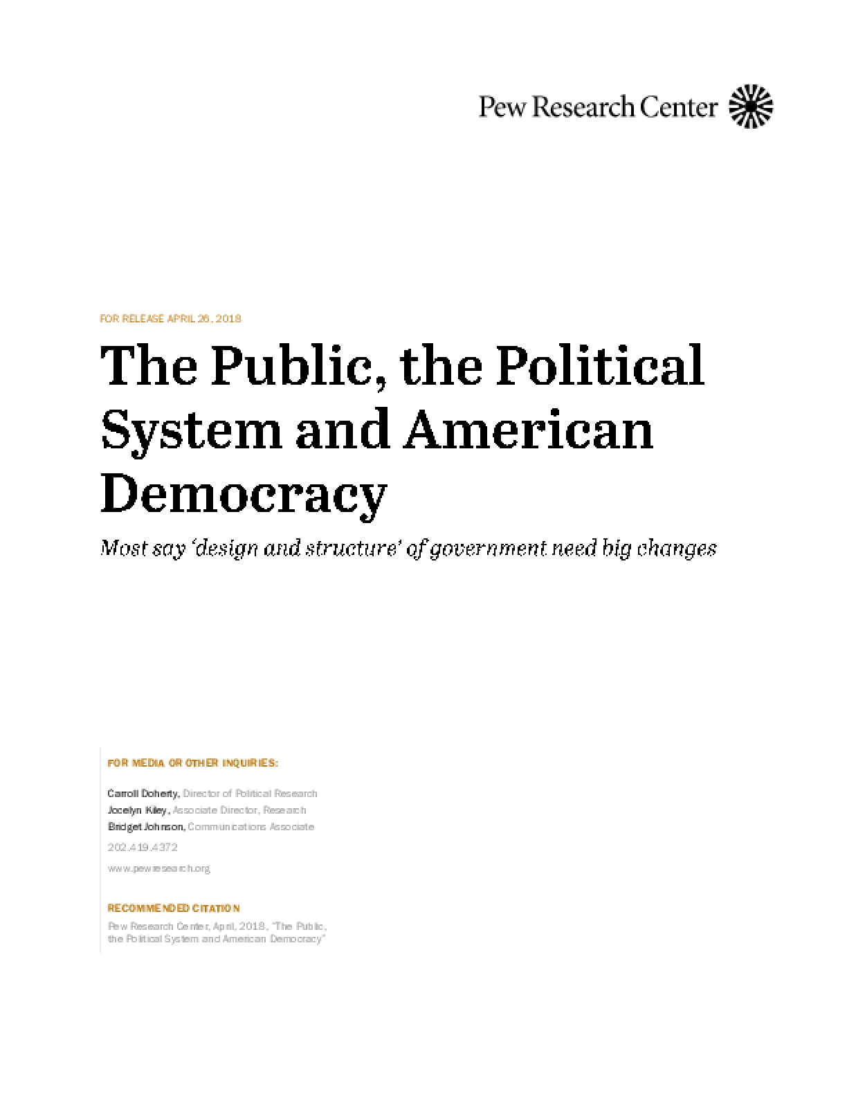 The Public, the Political System and American Democracy