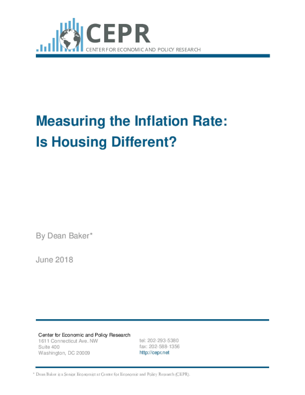 Measuring the Inflation Rate:  Is Housing Different?
