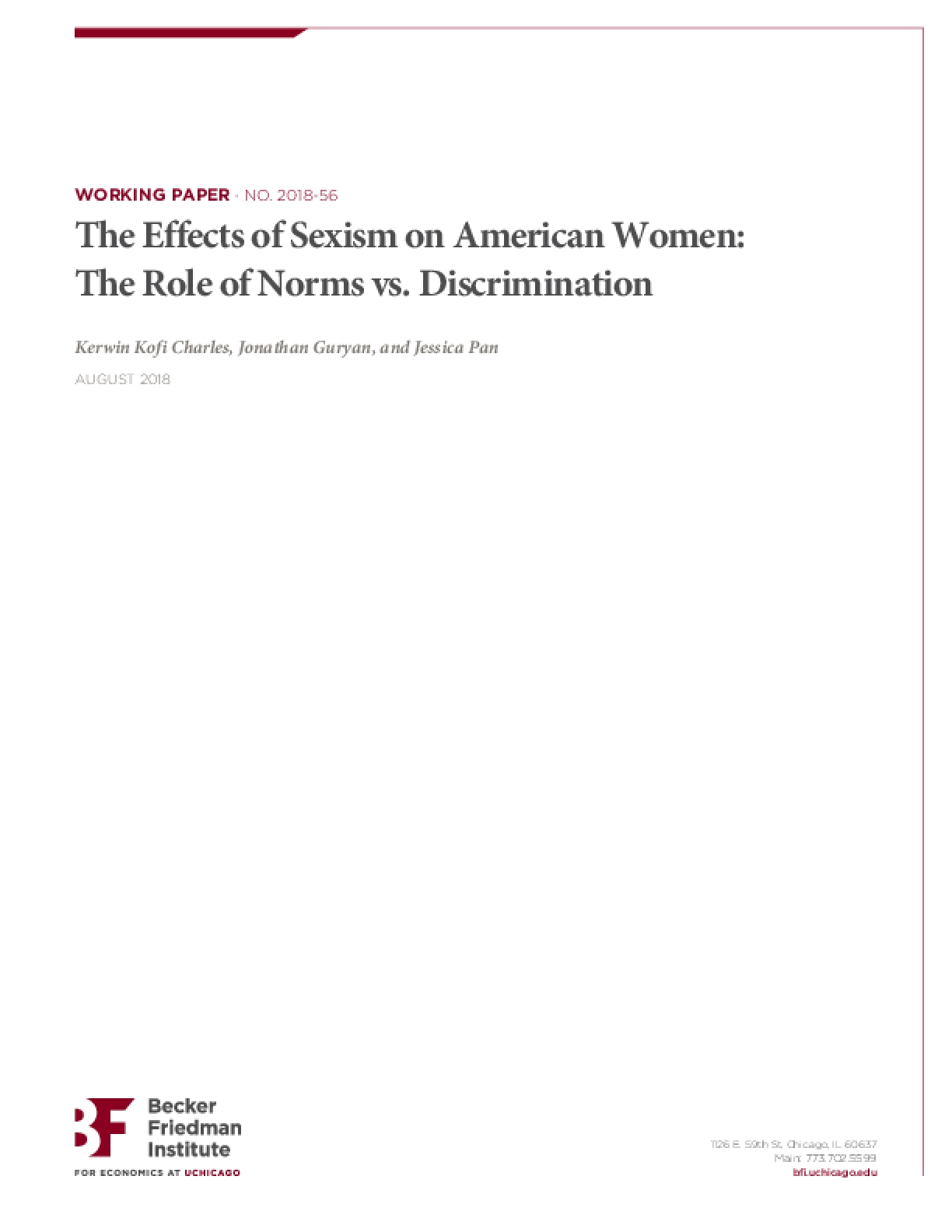 The Effects of Sexism on American Women: The Role of Norms vs. Discrimination