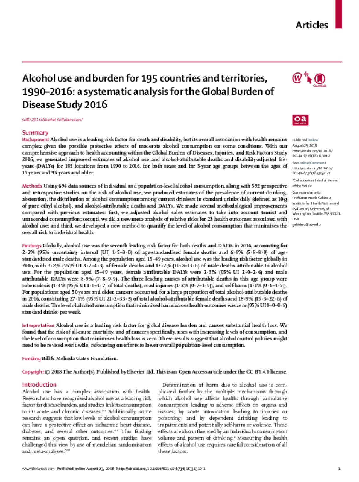 Alcohol use and burden for 195 countries and territories, 1990–2016: a systematic analysis for the Global Burden of Disease Study 2016