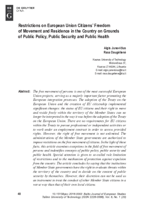 Restrictions on European Union Citizens' Freedom of Movement and Residence in the Country on Grounds of Public Policy, Public Security and Public Health