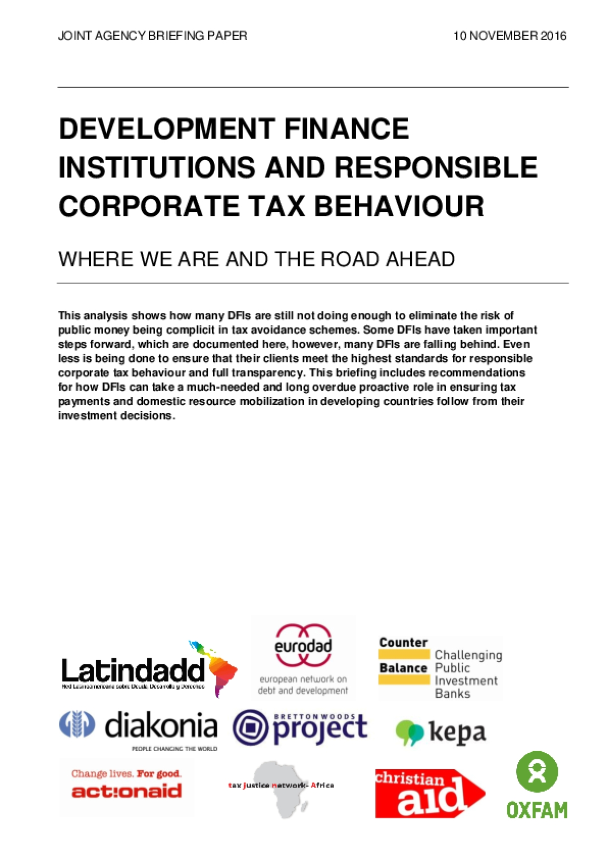 Development Finance Institutions and Responsible Corporate Tax Behaviour: Where We Are, and the Road Ahead