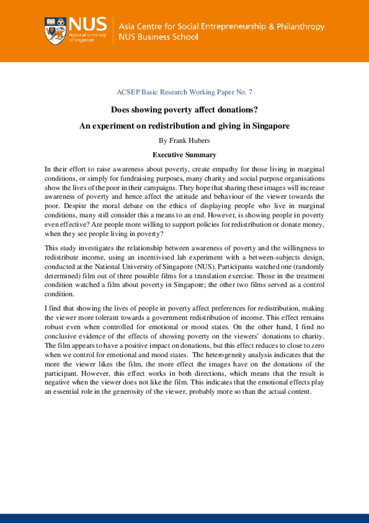 Does Showing Poverty Affect Donations? (Basic Research: Working Paper No. 7)