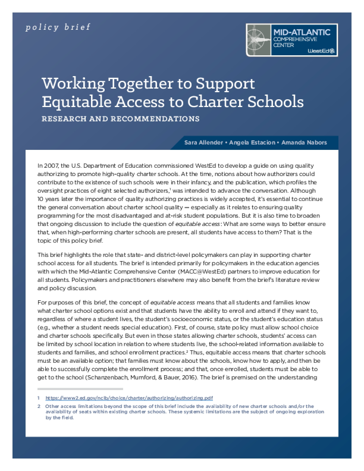 Working Together to Support Equitable Access to Charter Schools