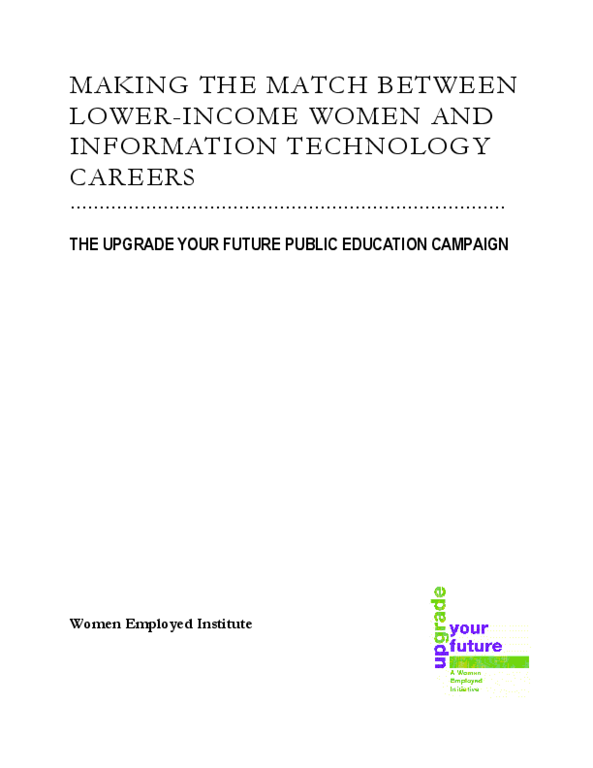 Making the Match Between Lower-Income Women and Information Technology