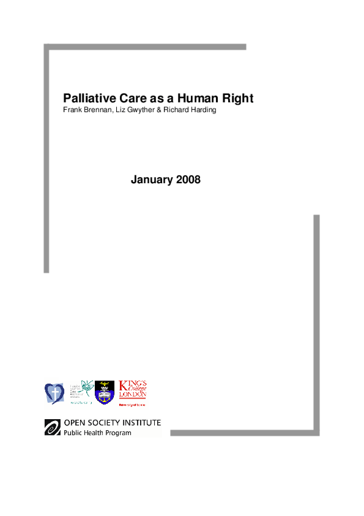Palliative Care as a Human Right