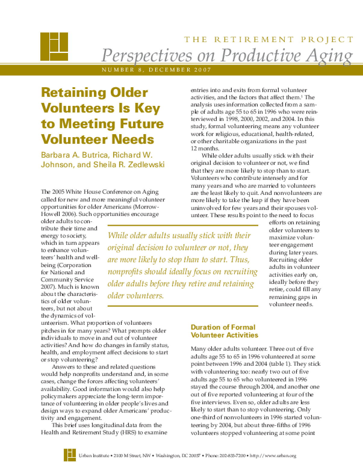 Retaining Older Volunteers Is Key to Meeting Future Volunteer Needs