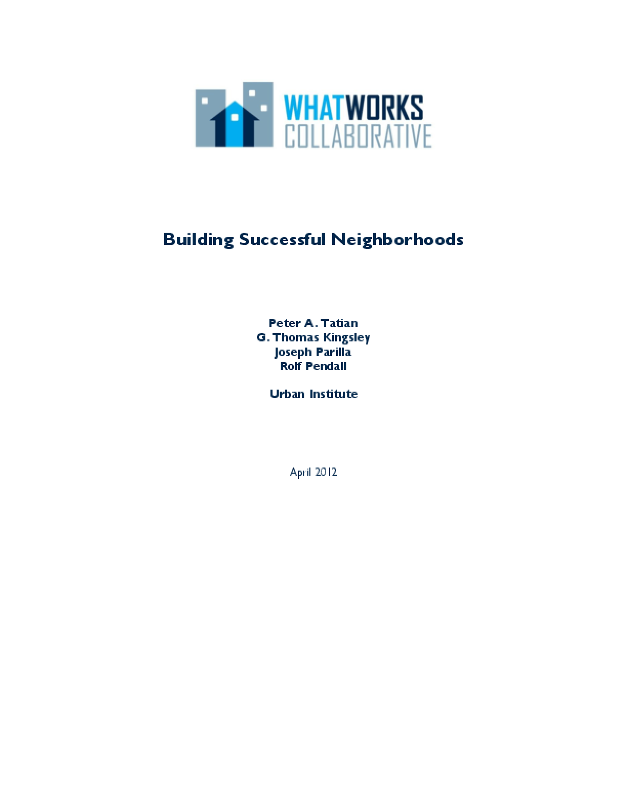 Building Successful Neighborhoods