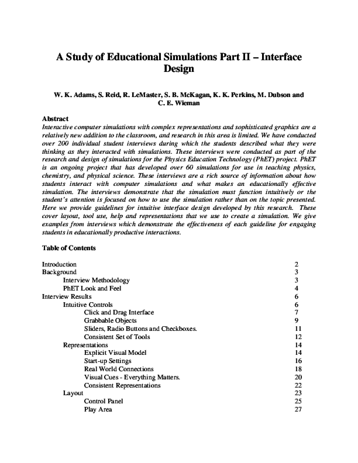 A Study of Educational Simulations Part II - Interface Design
