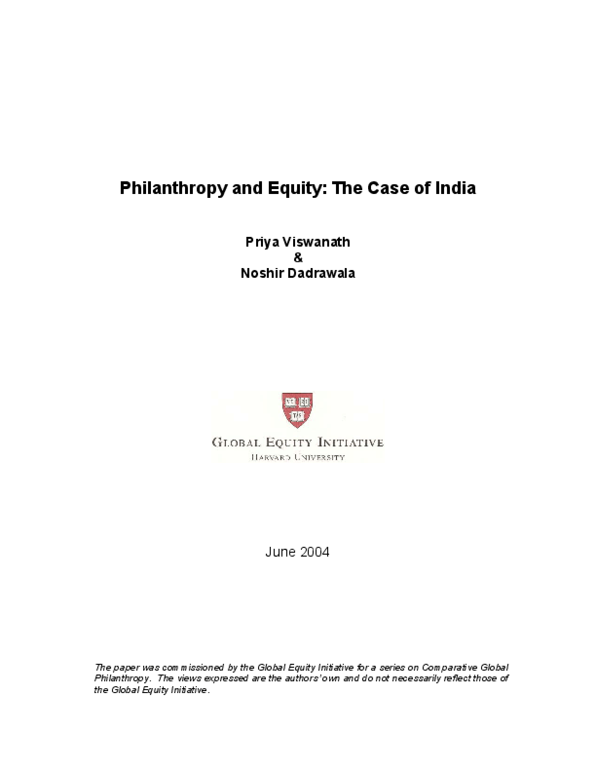 Philanthropy and Equity: The Case of India