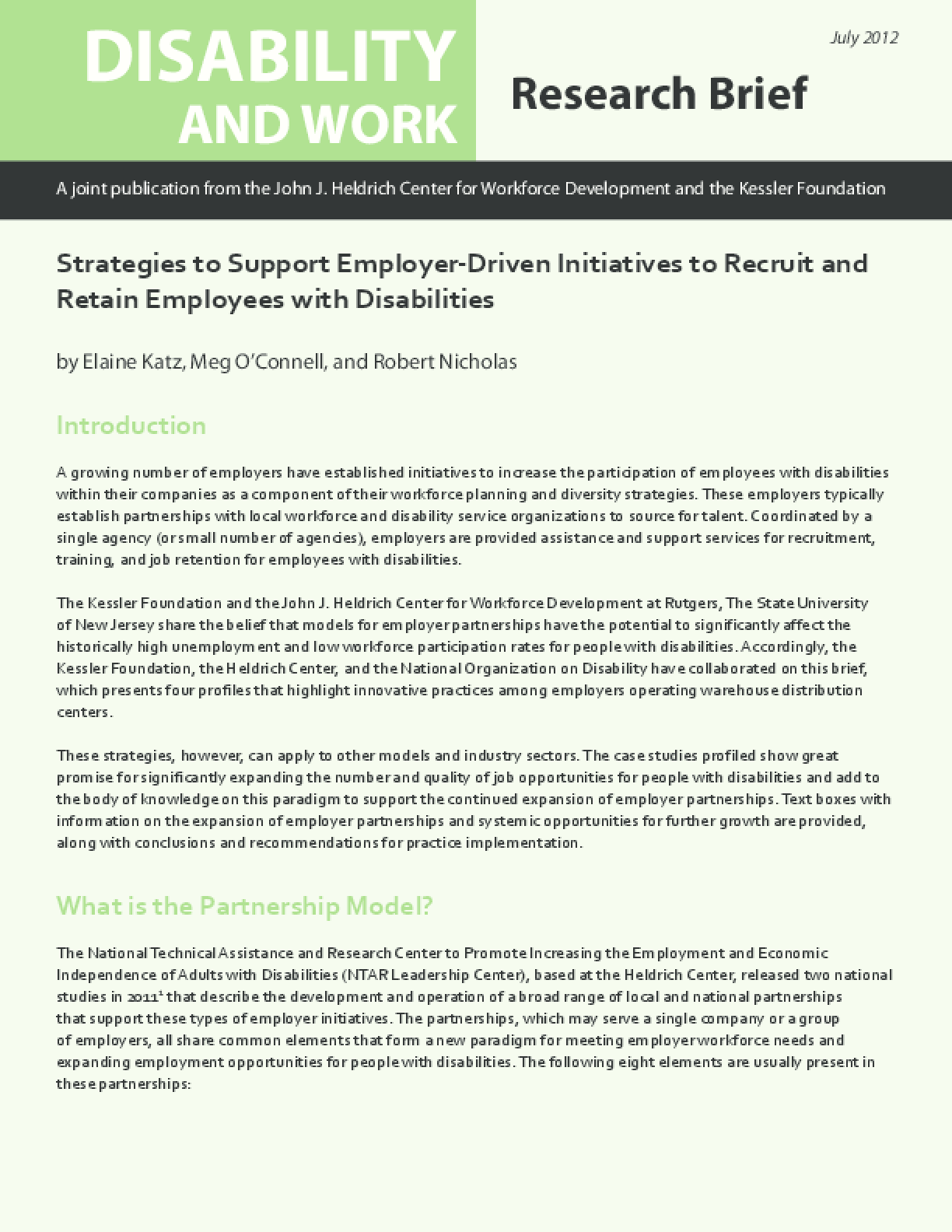 Strategies to Support Employer-Driven Initiatives to Recruit and Retain Employees with Disabilities