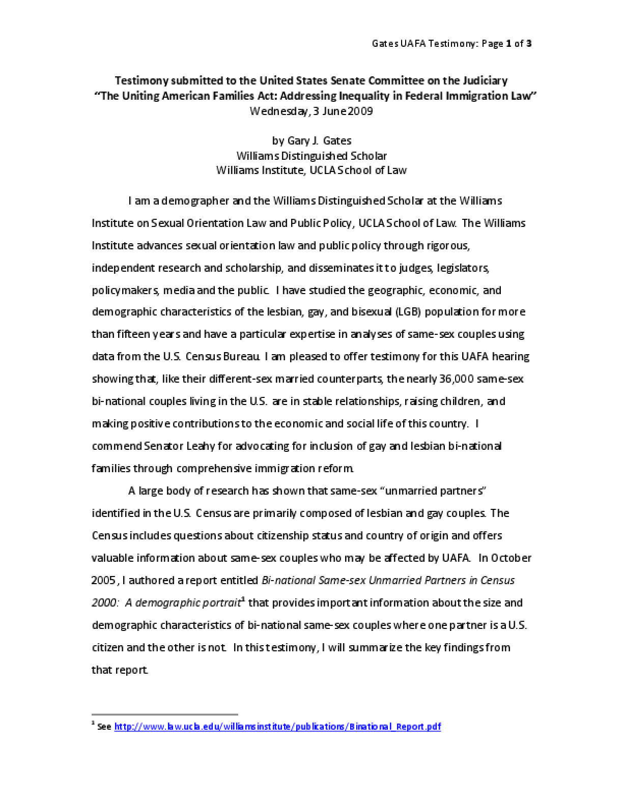 Testimony Submitted to the United States Senate Committee on the Judiciary: The Uniting American Families Act, Addressing Inequality in Federal Immigration Law