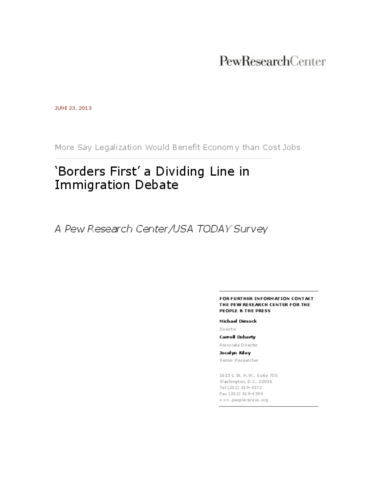 'Borders First': A Dividing Line in Immigration Debate