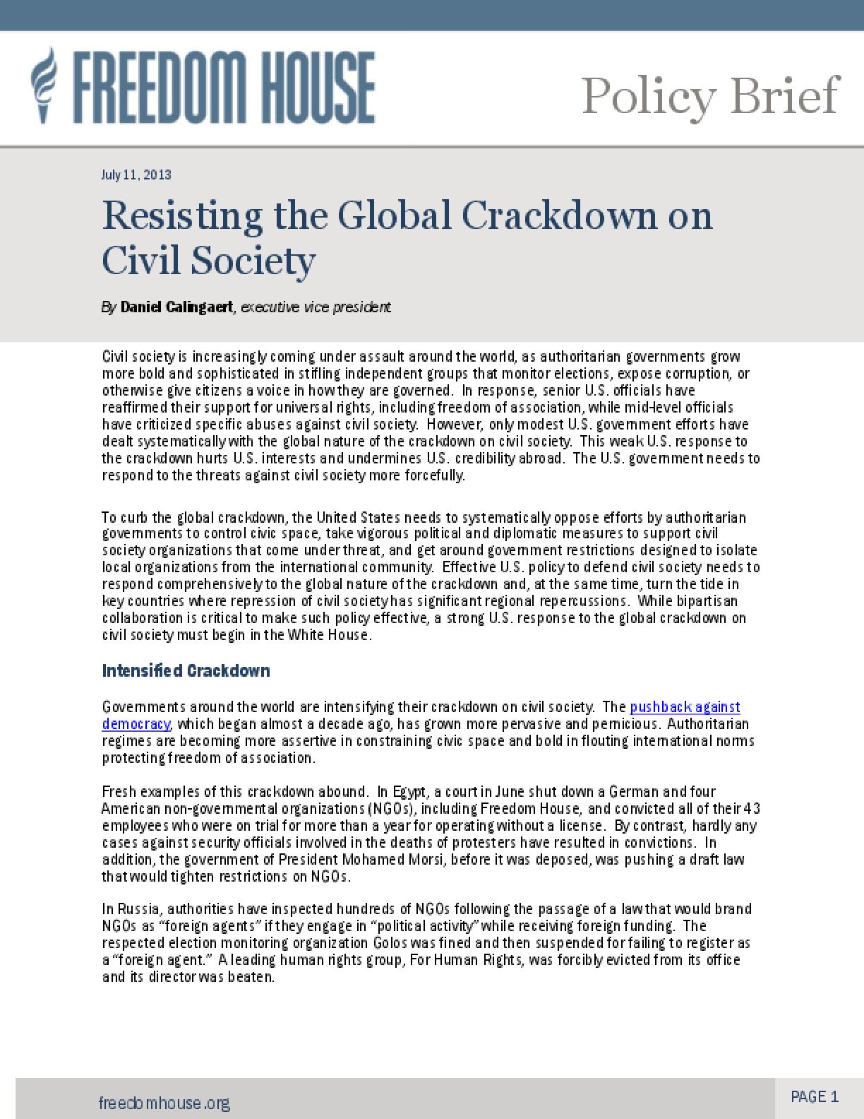 Resisting the Global Crackdown on Civil Society