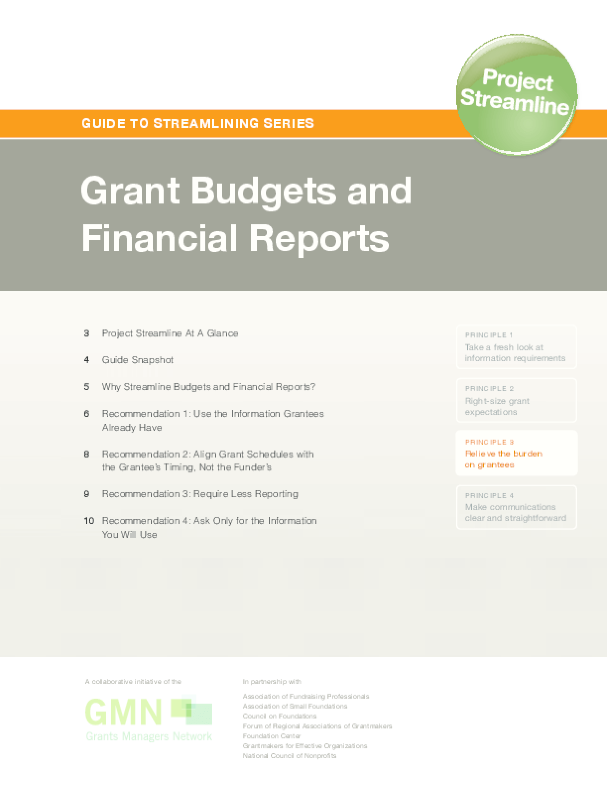 Guide to Streamlining Series: Grant Budgets and Financial Reports
