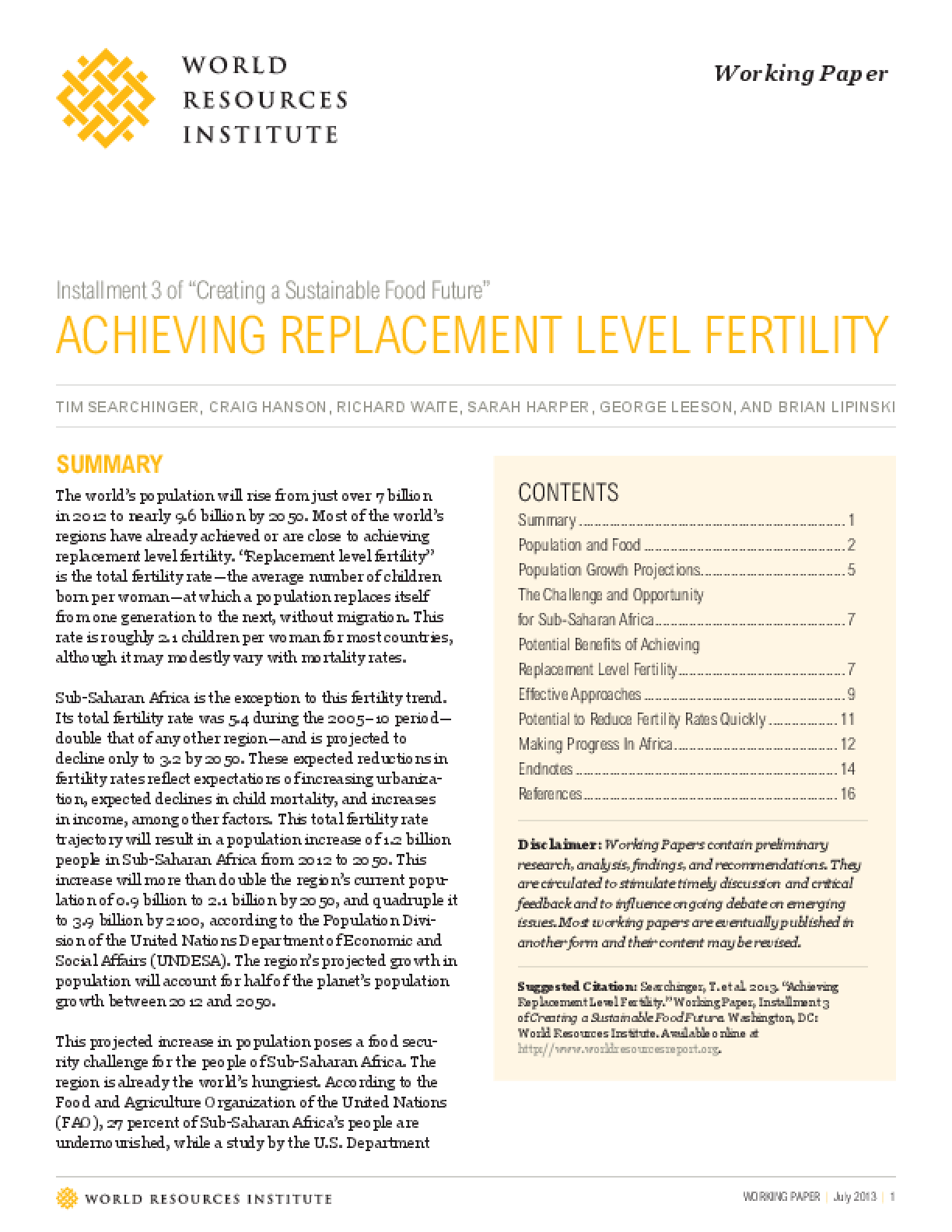 """Installment Three of """"Creating a Sustainable Food Future"""": Achieving Replacement Level Fertility"""
