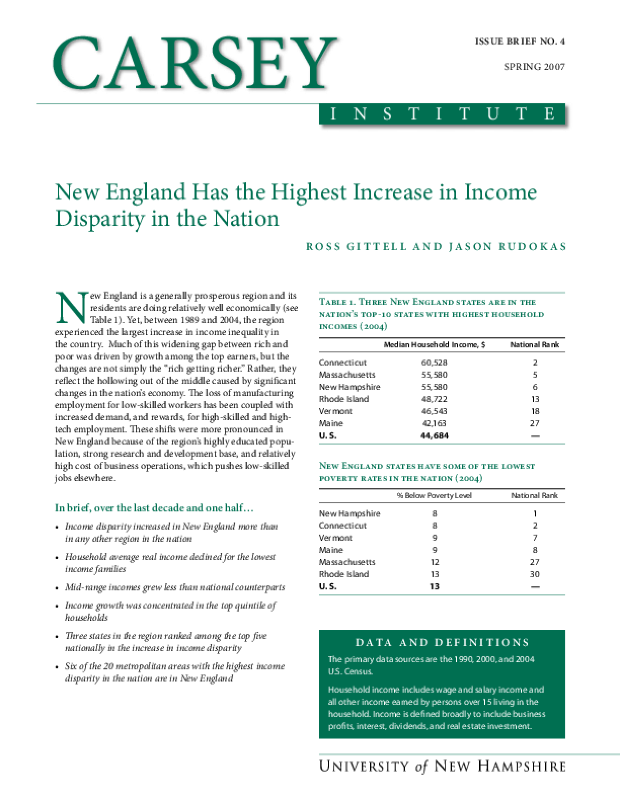 New England Has the Highest Increase in Income Disparity in the Nation