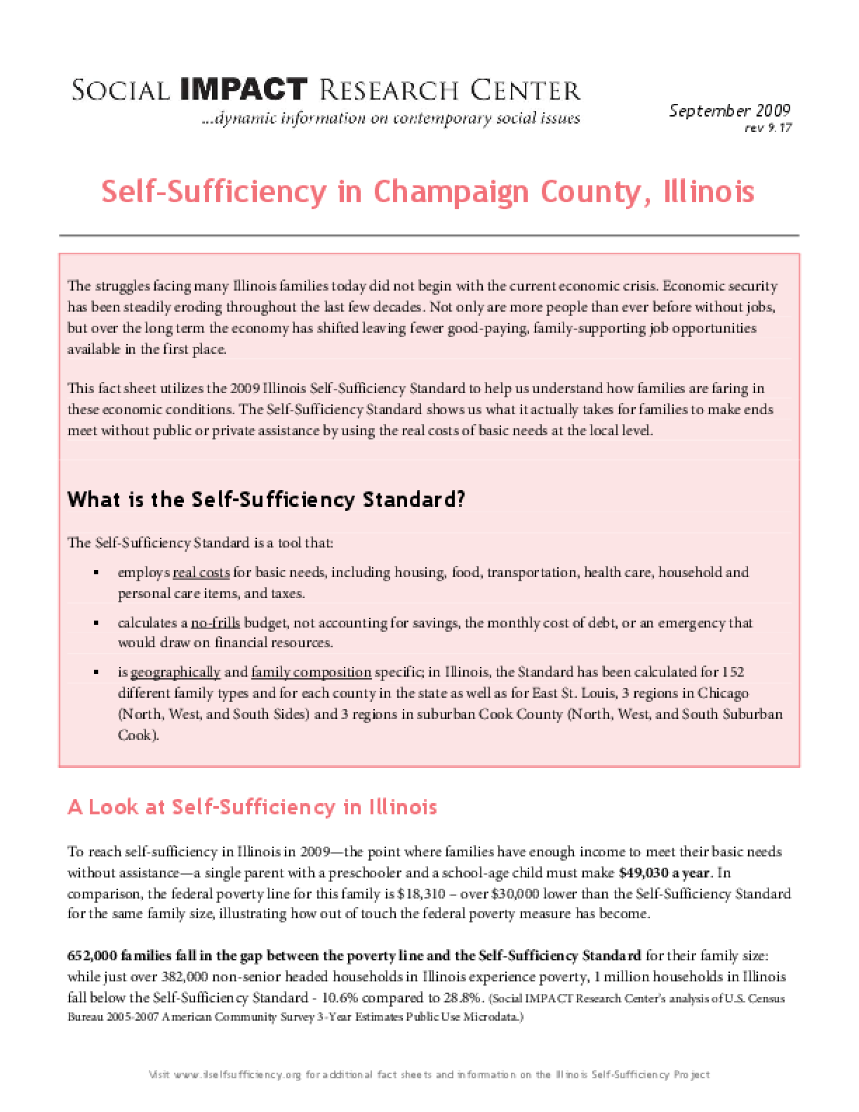 Self-Sufficiency in Champaign County, Illinois