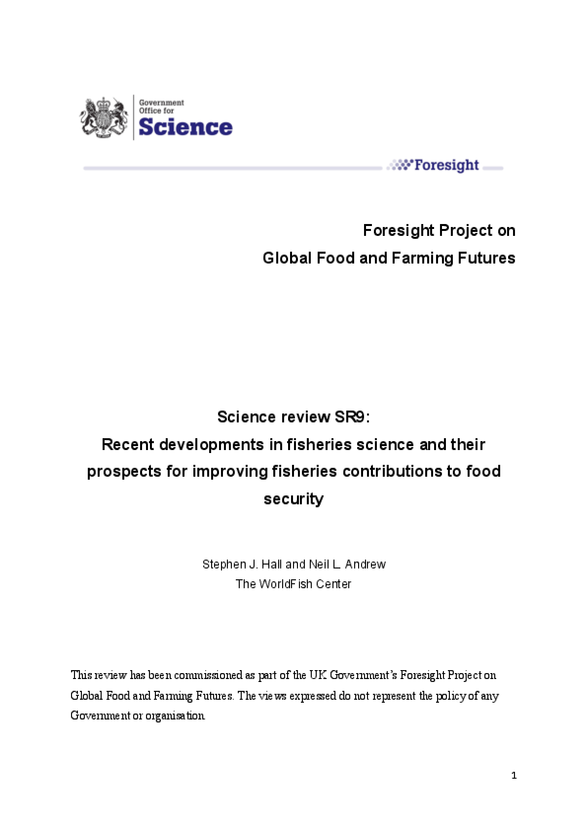 Recent Developments in Fisheries Science and Their Prospects for Improving Fisheries Contributions to Food Security