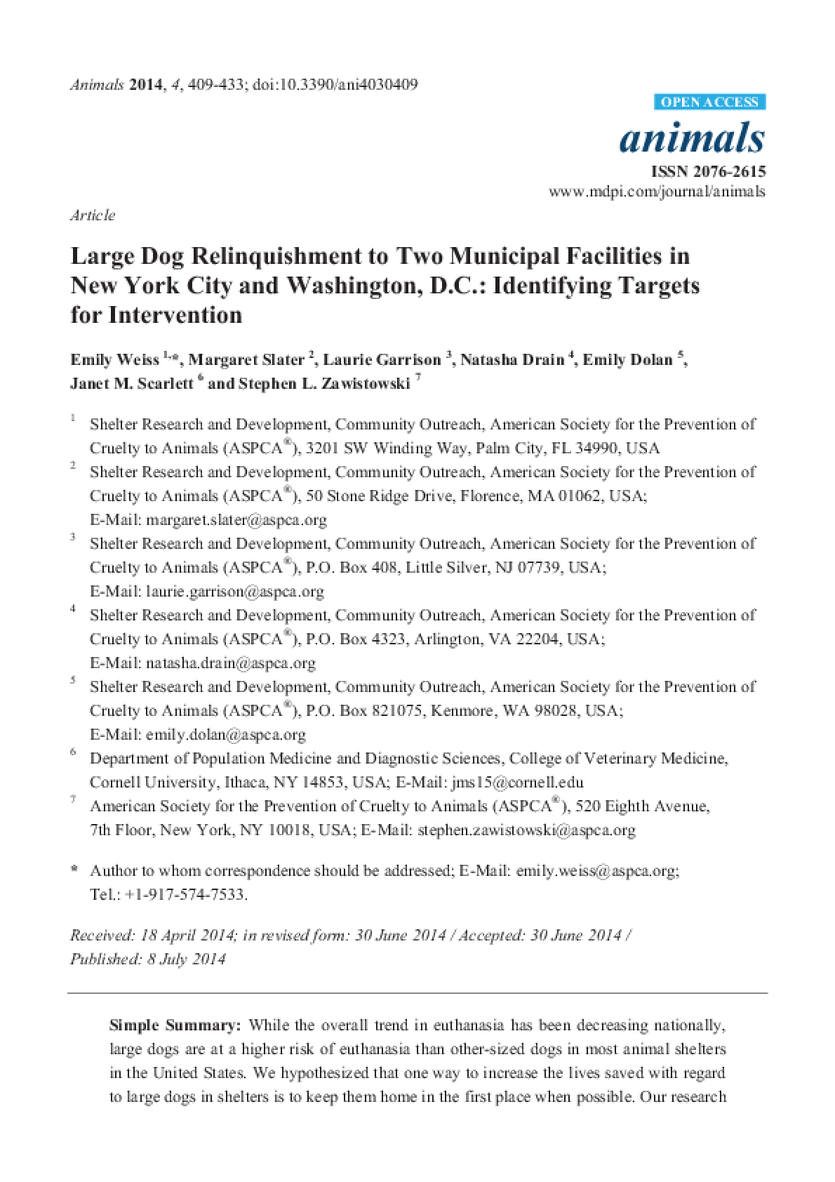 Large Dog Relinquishment to Two Municipal Facilities in New York City and Washington, D.C.: Identifying Targets for Intervention