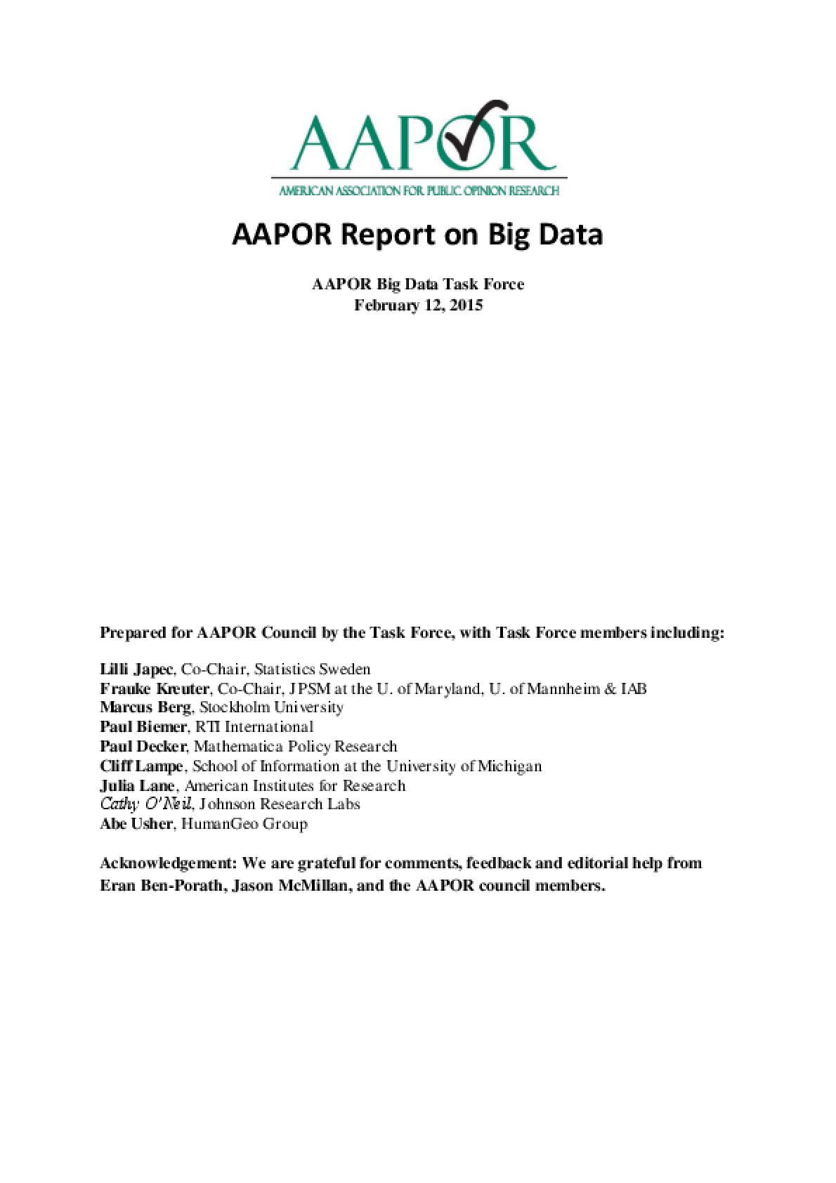 AAPOR Report on Big Data