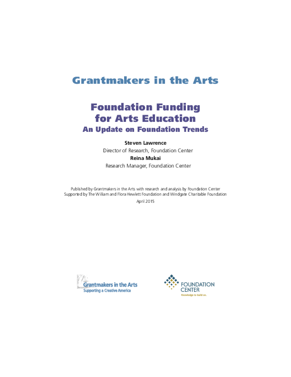 Foundation Funding for Arts Education: An Update on Foundation Trends