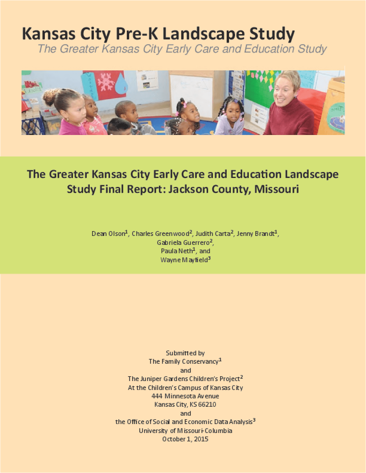 The Greater Kansas City Early Care and Education Landscape Study Final Report: Jackson County, Missouri