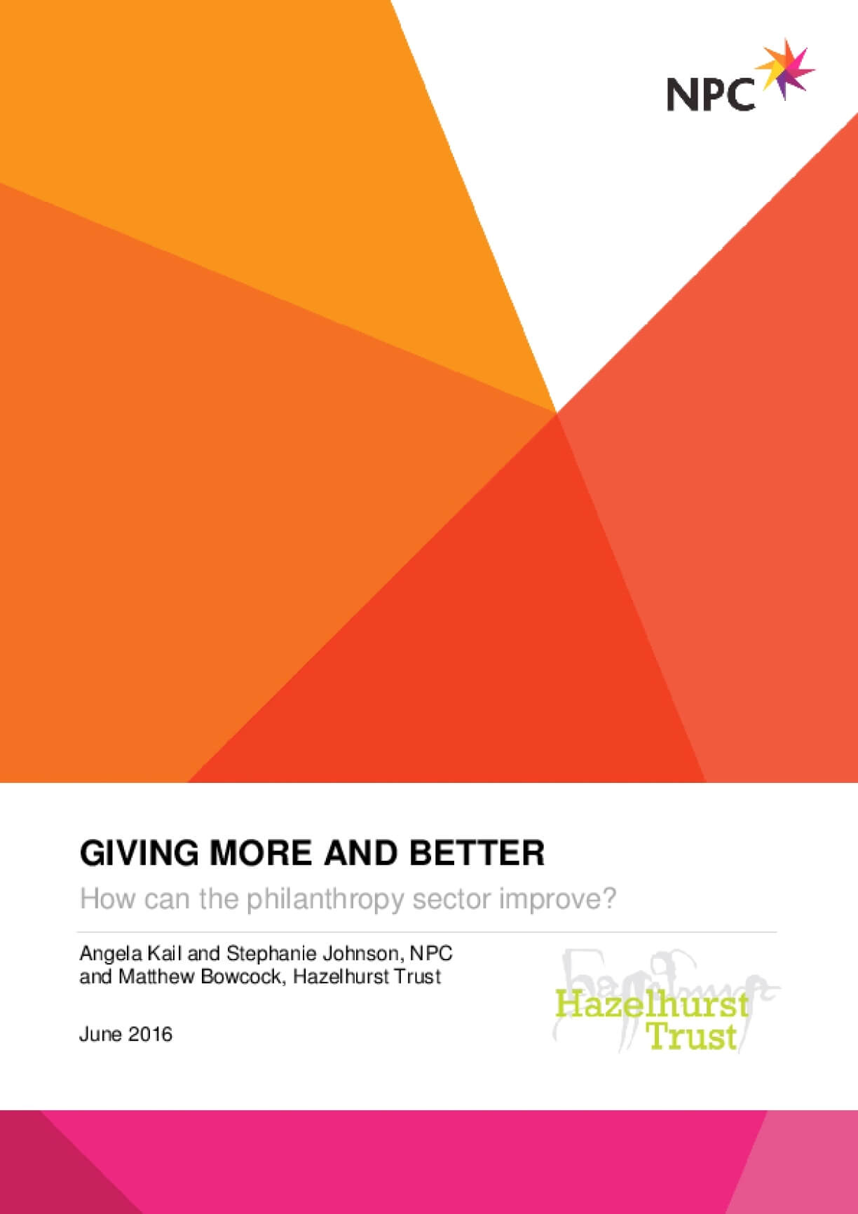Giving More and Better : How Can the Philanthropy Sector Improve?