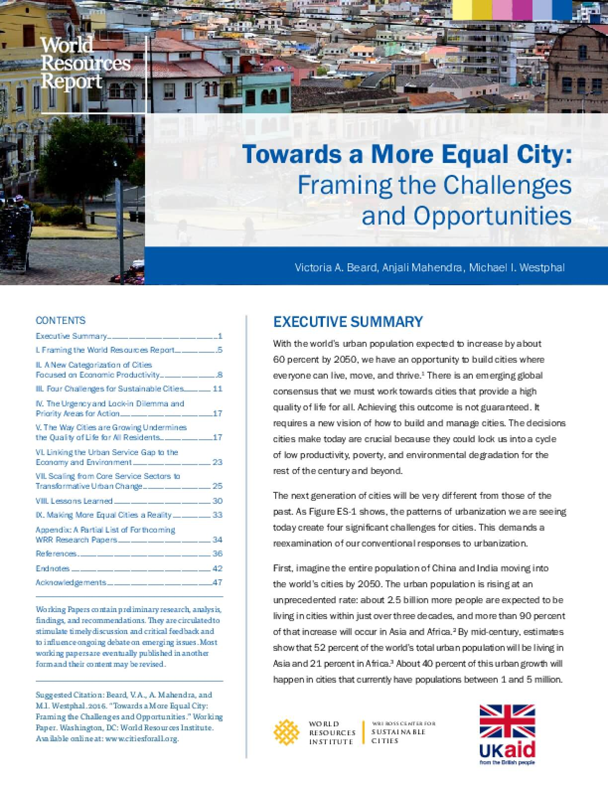 Towards a More Equal City: Framing the Challenges and Opportunities