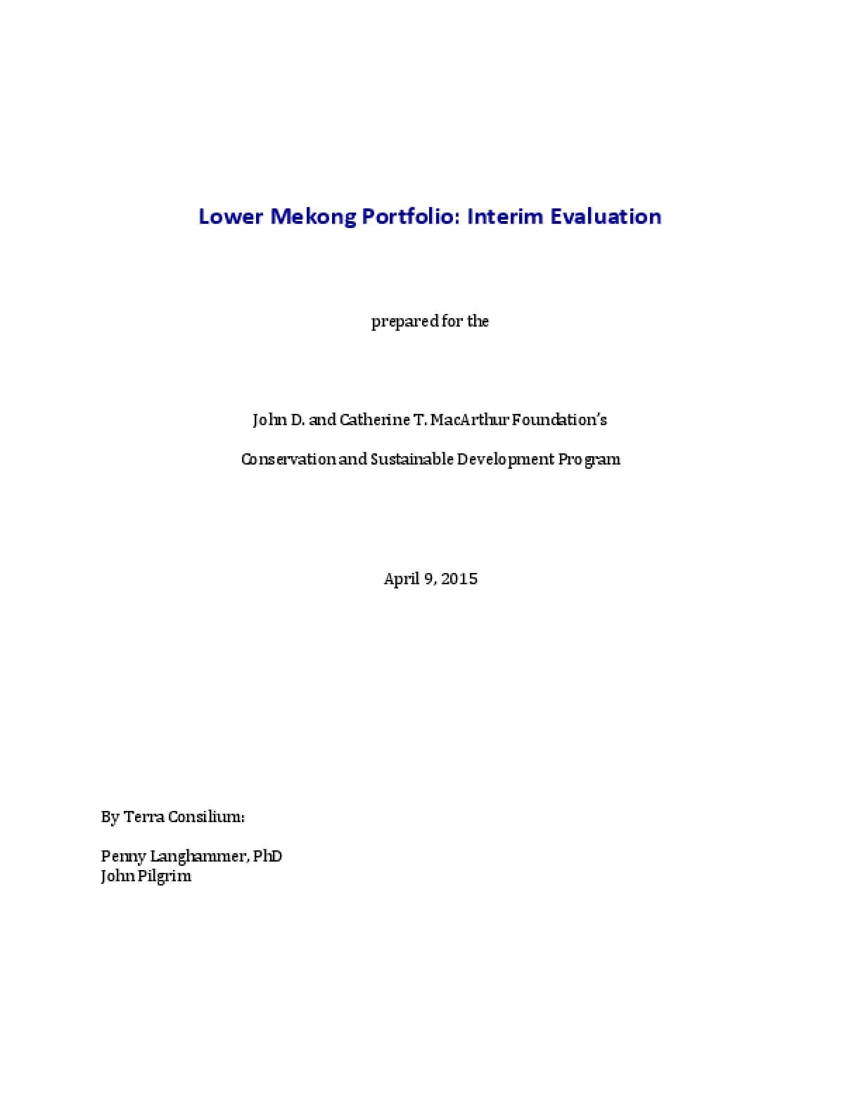 Lower Mekong Portfolio: Interim Evaluation