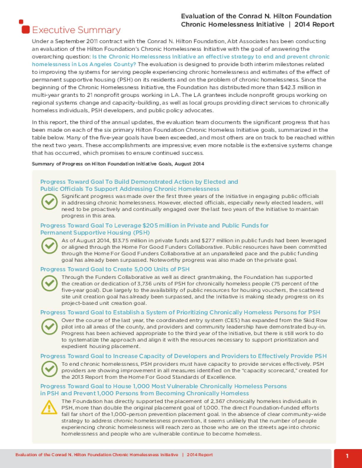 Evaluation of the Conrad N. Hilton Foundation Chronic Homelessness Initiative: 2014 Dashboard and Executive Summary
