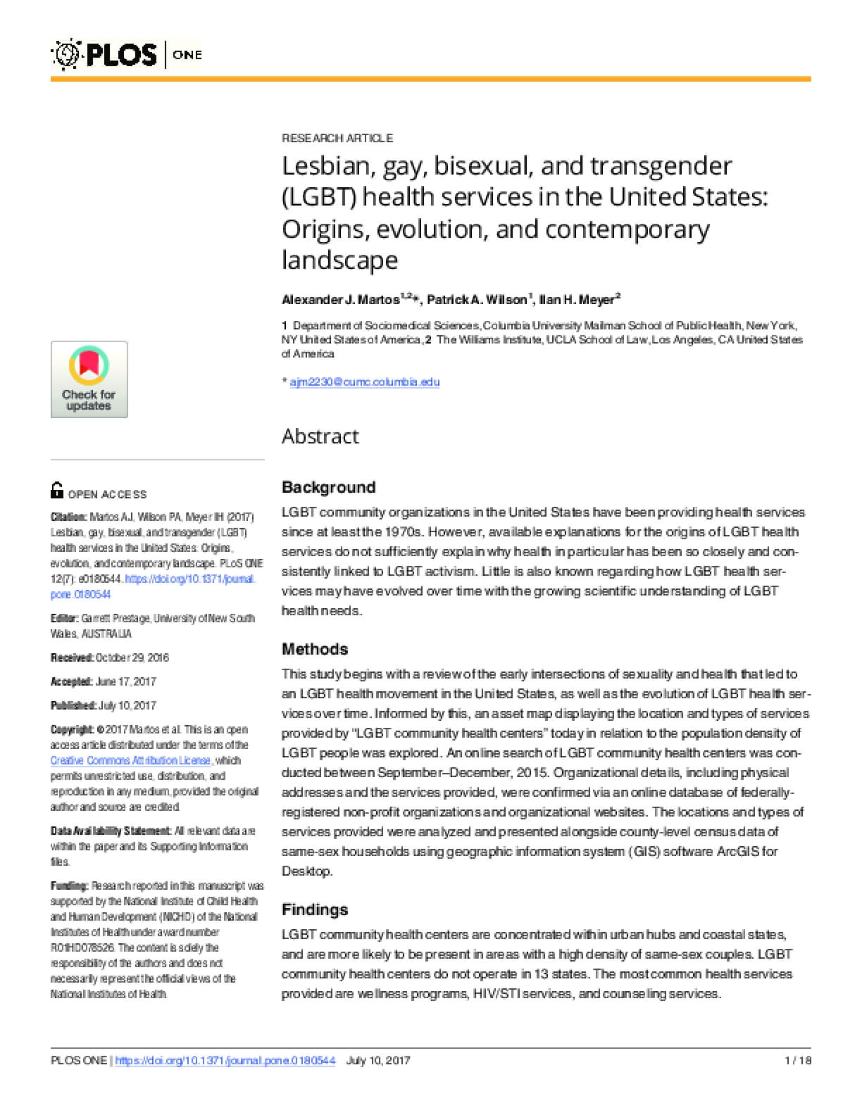 Lesbian, Gay, Bisexual, and Transgender (LGBT) Health Services in the United States: Origins, Evolution, and Contemporary Landscape