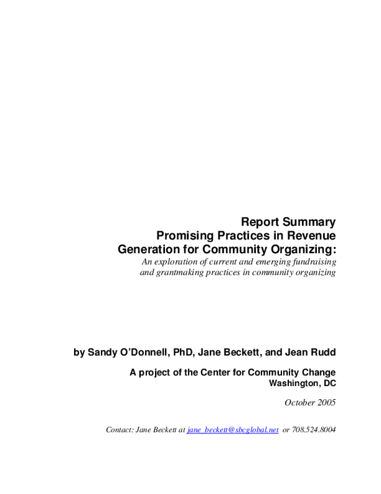 Promising Practices in Revenue Generation for Community Organizing: an Exploration of Current and Emerging Fundraising and Grantmaking Practices in Community Organizing